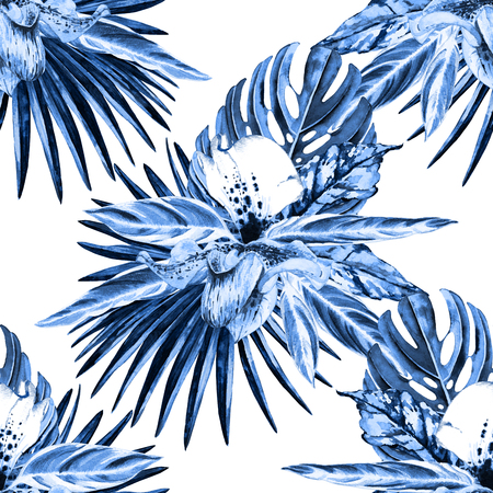 Tropical floral seamless  pattern. Watercolor exotic leaves, monstera, fan palm and orchids. Blue monochrome hues on white background. Textile design.
