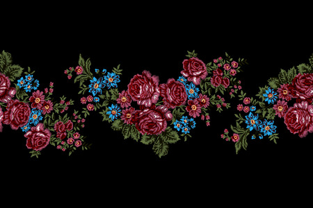 Authentic floral embroidery, pink roses border pattern. Vintage style. Illustration