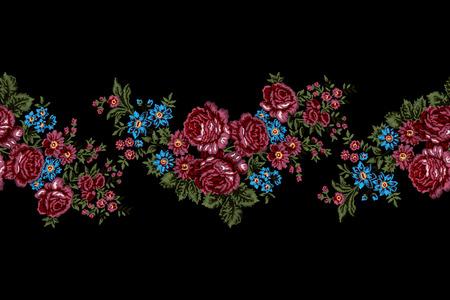 Authentiek bloemen borduurwerk, roze rozen grens patroon. Vintage-stijl.