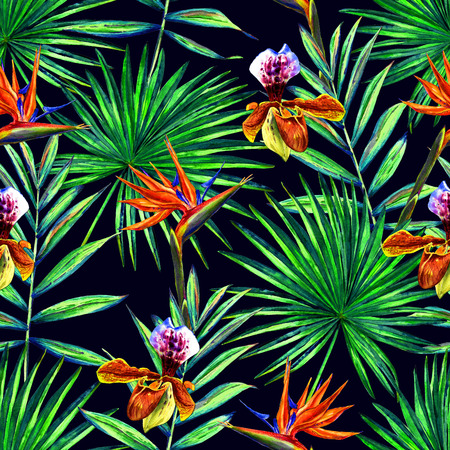 Seamless floral pattern with watercolor palm leaves, orchids  and strelitzia reginae flowers. Jungle foliage on night sky blue background. Textile design.