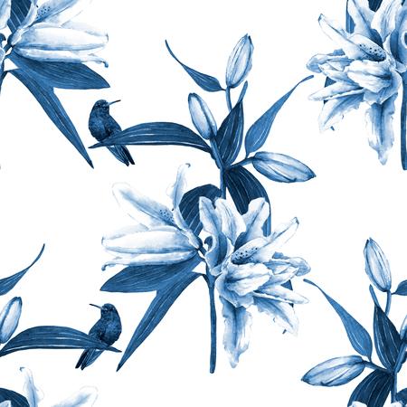 Hermosos ramos de lirios tropicales con colibríes. Patrón floral transparente, acuarela pintada a mano. Diseño de diamante. Tonos azules, aislados en fondo blanco. Textura de la tela Foto de archivo