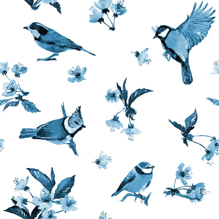 hues: Seamless watercolor pattern cherry blossom and birds. Textile print. Blue hues on white background.