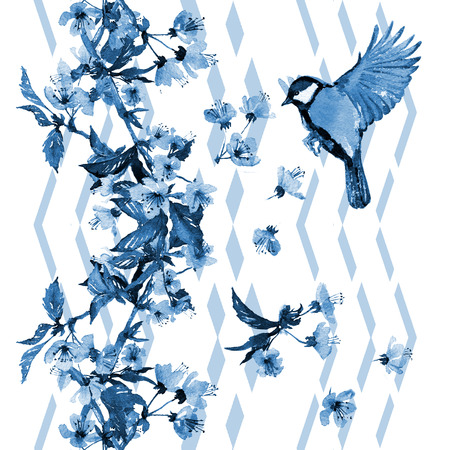 tomtit: Seamless watercolor pattern cherry blossom with a bird on vertical zigzag ornament. Blue hues on white background. Textile print, wallpaper.