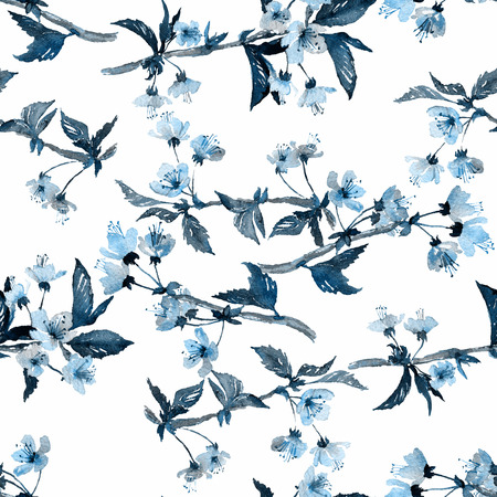japanese garden: Seamless watercolor pattern. Sakura blossom, blue hues on white background. Textile print. Stock Photo