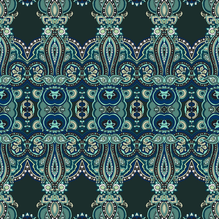 moss: Seamless abstract geometric paisley pattern. Traditional oriental ethnic ornament, on moss green background.