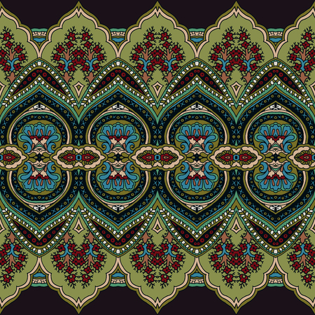 Seamless abstract geometric paisley pattern. Traditional oriental ethnic ornament, green shades on taupe brown background. Textile design.