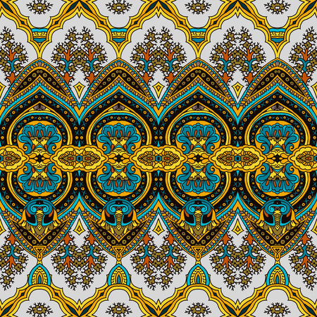 pickle: Seamless abstract geometric paisley pattern. Traditional oriental ethnic ornament, vivid colors on petrol blue background. Textile design. Illustration