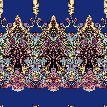 Seamless abstract geometric paisley ornament. Traditional oriental ethnic pattern, vibrant colors on cobalt blue background. Textile design. Иллюстрация