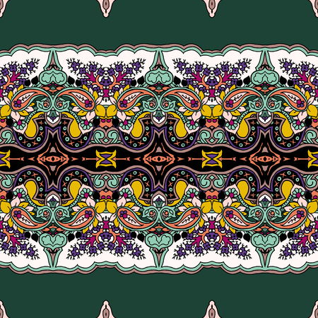 Seamless abstract geometric paisley ornament. Traditional oriental ethnic pattern, oriental tones on spruce green background. Textile design.