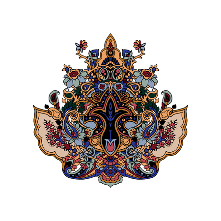 Luxurious paisley composition. Stylized vector image of lotus flower. Traditional motive of Russia, India, Persia isolated on white background. Element for your design.