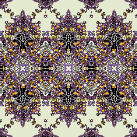 Seamless abstract geometric paisley ornament. Traditional oriental ethnic pattern, lilac and gold tones on pale yellow background. Textile design.