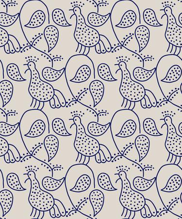 ecru: Traditional block printed ornament. Seamless floral pattern, handmade Russian folk motif with singing birds and vine. Blue on ecru background Textile print. Illustration