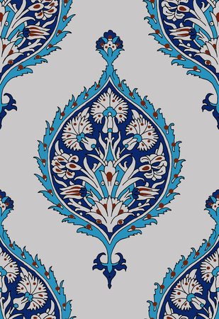 Iznik ethnic motif. Traditional turquoise flower blue ornament with irises. Seamless pattern.