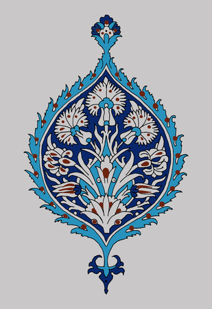 Iznik ethnic motif. Traditional turquoise flower blue ornament with irises. Element for your design.