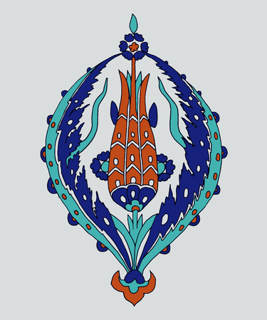 Iznik ethnic motif. Traditional turquoise blue flower with tulip. Element for your design. Illustration