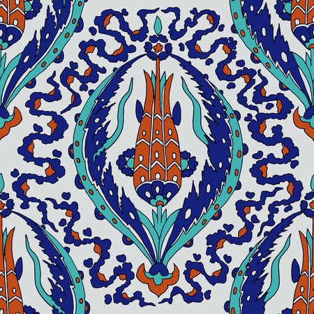 Iznik ethnic motif. Traditional Turkish floral pattern with tulips and ribbons. Seamless pattern.