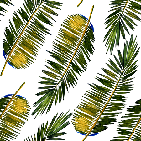 allover: Seamless watercolor floral pattern with stylized palm leaves. Colorful jungle foliage on white background. Textile design.