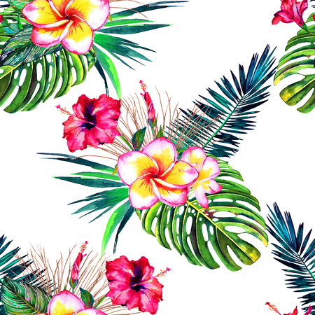 Tropical floral seamless pattern. Watercolor exotic bouquets. Flowers of hibiscus and plumeria, rain forest palm leaves, calathea and monstera. Vivid tones on white background. Textile design.