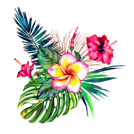 Tropical bouquet. Exotic flowers of hibiscus and plumeria, rain forest palm leaves, calathea and monstera. Handmade watercolor, isolated on white background. Floral composition for your design.