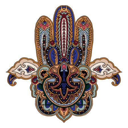 Composição paisley de luxo. Imagem de vetor estilizado de mão hamsa. Símbolo tradicional de Médio Oriente, Índia, África do norte isolada no fundo branco. Elemento para o seu design.