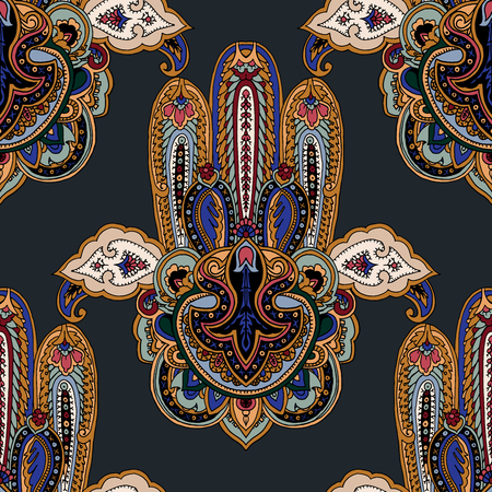berber: Seamless abstract geometric paisley pattern with stylized hamsa symbol. Traditional oriental ethnic ornament, on basalt gray background. Textile design.