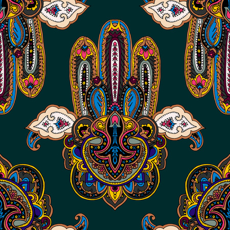 berber: Seamless abstract geometric paisley pattern with stylized hamsa symbol. Traditional oriental ethnic ornament, on malachite green background. Textile design.