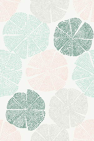 Traditional woodblock printed ornament. Seamless floral pattern, handmade Eastern folk motif with abstract circular figures, looks like flowers. Minty green and beige on ecru background Textile print.