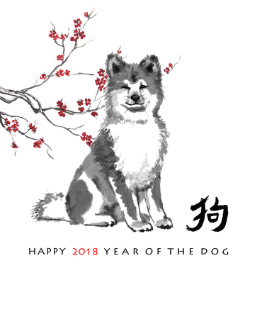 Greeting card Chinese new year. A seated akita inu and a branch of cherry blossom, oriental ink painting. With Chinese hieroglyph