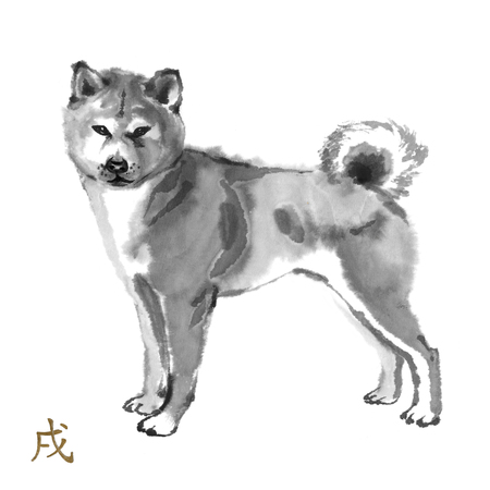 akita: Pug oriental ink painting with golden Chinese hieroglyph dog. Symbol of the new year. Original sumi-e art.