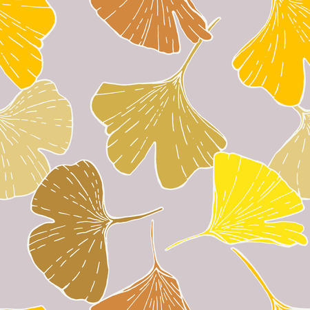 Seamless pattern with ginkgo leaves. Hand drawn exotic foliage. Yellow and brown on lavendel background. Textile design. Illustration