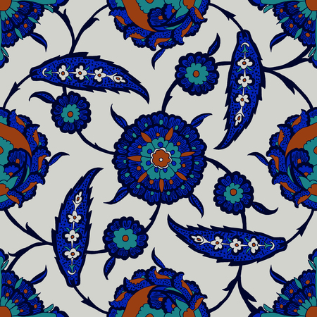 Iznik ethnic motif. Traditional Turkish floral cobalt blue ornament with beautiful stylized flowers. Seamless pattern. Illustration