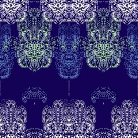 Patrón geométrico abstracto inconsútil de Paisley con los símbolos estilizados del hamsa del cordón. Ornamento étnico oriental tradicional, tonalidades en colores pastel en fondo del azul de índigo. Textura ornamental del yoga. Diseño textil.
