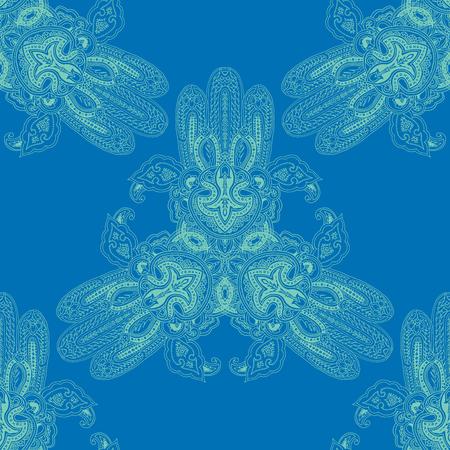Patrones de Paisley geométrico abstracto sin fisuras con símbolos de hamsa de encaje en forma de triángulo. Ornamento étnico oriental tradicional de la mandala, esquemas verdes minty en fondo del cielo azul. Diseño textil.