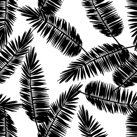 Seamless floral pattern with stylized palm leaves. Jungle foliage, black silhouettes on white background. Tropical textile design.