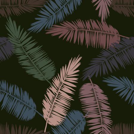양식에 일치시키는 팜 원활한 꽃 패턴을 유지합니다. 정글 단풍, 녹색 배경에 군사 색채입니다. 섬유 디자인입니다. 일러스트