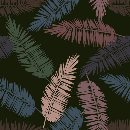 Seamless floral pattern with stylized palm leaves. Jungle foliage, military hues on green background. Textile design.