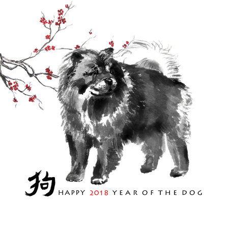 Greeting card chinese new year a chow chow and a branch of cherry greeting card chinese new year a chow chow and a branch of cherry blossom m4hsunfo
