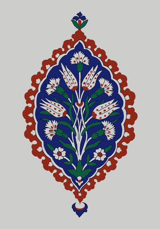 Iznik ethnic motif. Traditional Turkish floral cobalt blue ornament with carnations. Element for your design.