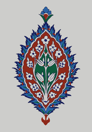 Iznik ethnic motif. Traditional Turkish floral cobalt blue ornament with forget-me-not flowers. Element for your design. Illustration