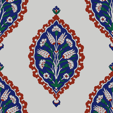 Iznik ethnic motif. Traditional Turkish floral blue ornament with carnations. Seamless pattern.