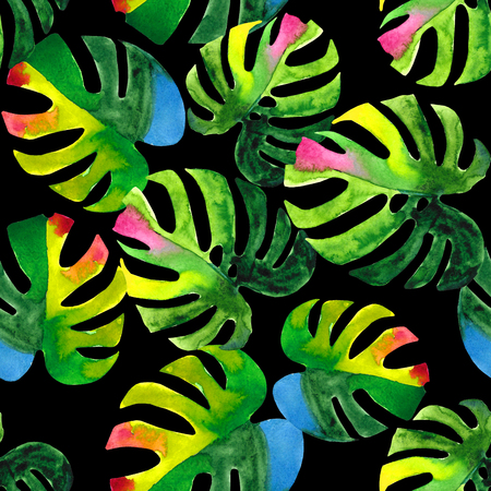 allover: Seamless floral pattern with stylized watercolor. Colorful jungle foliage on black background. Textile design. Stock Photo