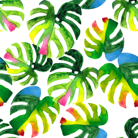 allover: Seamless floral pattern with stylized watercolor monstera leaves. Colorful jungle foliage on white background. Textile design.