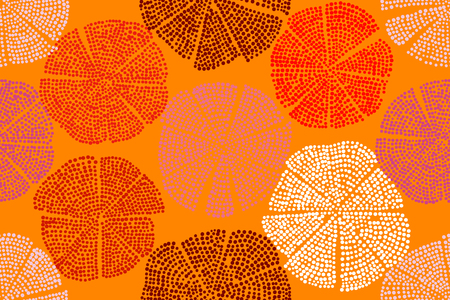 Traditional woodblock printed ornament. Seamless floral pattern, handmade Eastern folk motif with abstract circular figures. Red and orange shades. Textile print.