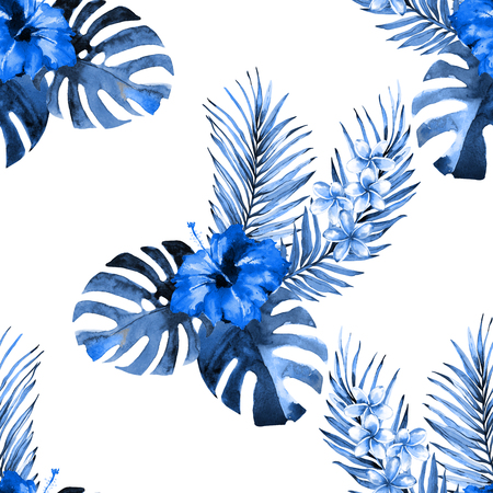 Seamless floral pattern with beautiful watercolor flowers of hibiscus and plumeria, rain forest palm and monstera leaves. Blue hues jungle foliage on white background. Textile design.