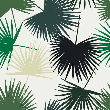 Seamless floral pattern with stylized fan. Jungle foliage, green hues on ecru background. Textile design. Illustration