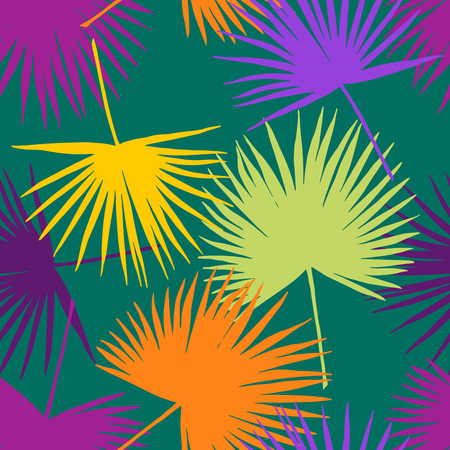 Seamless floral pattern with stylized fan. Jungle foliage, yellow and purple hues on emerald green background. Textile design.