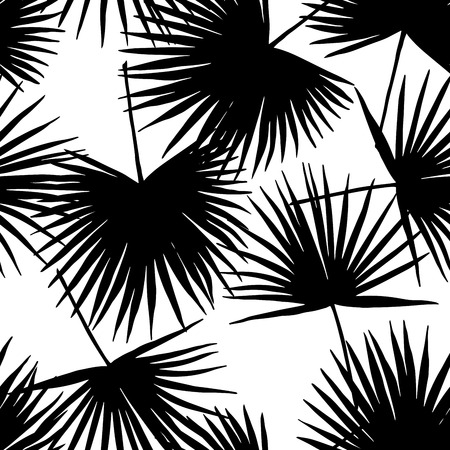 Seamless floral pattern with stylized fan. Jungle foliage, black in white background. Textile design. Illustration