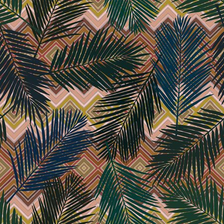 Seamless geo floral pattern with stylized palm leaves. Jungle foliage on geometric background. Vintage colors Textile design. Illustration