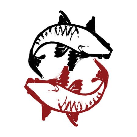 Koi fish. Yin Yang symbol. Handmade vector ink painting.