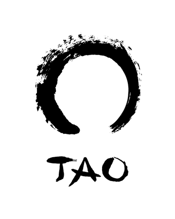 Enso open circle and lettering Tao. Buddhist symbol for the never ending journey to be whole. Handmade vector ink painting.